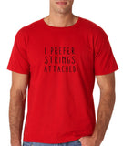 "I prefer strings attached Black mens T Shirt-T Shirts-Gildan-Red-S To Fit Chest 36-38"" (91-96cm)-Daataadirect"