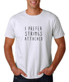 "I prefer strings attached Black mens T Shirt-T Shirts-Gildan-White-S To Fit Chest 36-38"" (91-96cm)-Daataadirect"