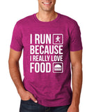 "I RUN BECAUSE I REALLY LOVE FOOD White mens T Shirt-T Shirts-Gildan-Antique Helconia-S To Fit Chest 36-38"" (91-96cm)-Daataadirect"