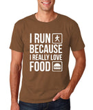 "I RUN BECAUSE I REALLY LOVE FOOD White mens T Shirt-T Shirts-Gildan-Chestnut-S To Fit Chest 36-38"" (91-96cm)-Daataadirect"