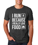"I RUN BECAUSE I REALLY LOVE FOOD White mens T Shirt-T Shirts-Gildan-Dk Heather-S To Fit Chest 36-38"" (91-96cm)-Daataadirect"
