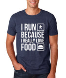 "I RUN BECAUSE I REALLY LOVE FOOD White mens T Shirt-T Shirts-Gildan-Heather Navy-S To Fit Chest 36-38"" (91-96cm)-Daataadirect"