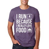 "I RUN BECAUSE I REALLY LOVE FOOD White mens T Shirt-T Shirts-Gildan-Heather Purple-S To Fit Chest 36-38"" (91-96cm)-Daataadirect"