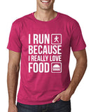 "I RUN BECAUSE I REALLY LOVE FOOD White mens T Shirt-T Shirts-Gildan-Heliconia-S To Fit Chest 36-38"" (91-96cm)-Daataadirect"