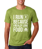 "I RUN BECAUSE I REALLY LOVE FOOD White mens T Shirt-T Shirts-Gildan-Kiwi-S To Fit Chest 36-38"" (91-96cm)-Daataadirect"