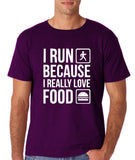 "I RUN BECAUSE I REALLY LOVE FOOD White mens T Shirt-T Shirts-Gildan-Purple-S To Fit Chest 36-38"" (91-96cm)-Daataadirect"