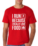 "I RUN BECAUSE I REALLY LOVE FOOD White mens T Shirt-T Shirts-Gildan-Red-S To Fit Chest 36-38"" (91-96cm)-Daataadirect"