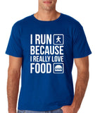 "I RUN BECAUSE I REALLY LOVE FOOD White mens T Shirt-T Shirts-Gildan-Royal Blue-S To Fit Chest 36-38"" (91-96cm)-Daataadirect"