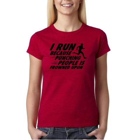 "I run because punching people is frowned upon Black Womens T Shirt-T Shirts-Gildan-Antique Cherry-S UK 10 Euro 34 Bust 32""-Daataadirect"