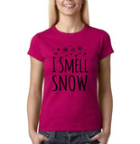 "I Smell Snow Black Womens T Shirt-T Shirts-Gildan-Antique Heliconia-S UK 10 Euro 34 Bust 32""-Daataadirect"