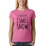 "I Smell Snow Black Womens T Shirt-T Shirts-Gildan-Azalea-S UK 10 Euro 34 Bust 32""-Daataadirect"