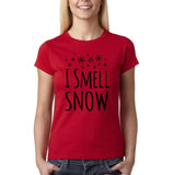 "I Smell Snow Black Womens T Shirt-T Shirts-Gildan-Cherry Red-S UK 10 Euro 34 Bust 32""-Daataadirect"