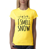 "I Smell Snow Black Womens T Shirt-T Shirts-Gildan-Daisy-S UK 10 Euro 34 Bust 32""-Daataadirect"