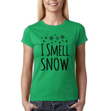 "I Smell Snow Black Womens T Shirt-T Shirts-Gildan-Irish Green-S UK 10 Euro 34 Bust 32""-Daataadirect"