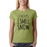 "I Smell Snow Black Womens T Shirt-T Shirts-Gildan-Kiwi-S UK 10 Euro 34 Bust 32""-Daataadirect"