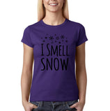 "I Smell Snow Black Womens T Shirt-T Shirts-Gildan-Purple-S UK 10 Euro 34 Bust 32""-Daataadirect"