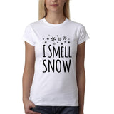 "I Smell Snow Black Womens T Shirt-T Shirts-Gildan-White-S UK 10 Euro 34 Bust 32""-Daataadirect"