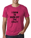 "I swim to burn off the crazy Black mens T Shirt-T Shirts-Gildan-Heliconia-S To Fit Chest 36-38"" (91-96cm)-Daataadirect"
