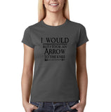 "I would but I took an arrow to the knee Black Womens T Shirt-T Shirts-Gildan-Charcoal-S UK 10 Euro 34 Bust 32""-Daataadirect"