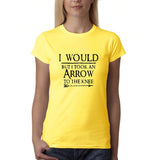 "I would but I took an arrow to the knee Black Womens T Shirt-T Shirts-Gildan-Daisy-S UK 10 Euro 34 Bust 32""-Daataadirect"