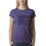 "I would but I took an arrow to the knee Black Womens T Shirt-T Shirts-Gildan-Heather Purple-S UK 10 Euro 34 Bust 32""-Daataadirect"