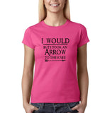 "I would but I took an arrow to the knee Black Womens T Shirt-T Shirts-Gildan-Heliconia-S UK 10 Euro 34 Bust 32""-Daataadirect"