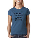 "I would but I took an arrow to the knee Black Womens T Shirt-T Shirts-Gildan-Indigo Blue-S UK 10 Euro 34 Bust 32""-Daataadirect"