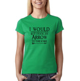 "I would but I took an arrow to the knee Black Womens T Shirt-T Shirts-Gildan-Irish Green-S UK 10 Euro 34 Bust 32""-Daataadirect"