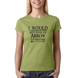 "I would but I took an arrow to the knee Black Womens T Shirt-T Shirts-Gildan-Kiwi-S UK 10 Euro 34 Bust 32""-Daataadirect"