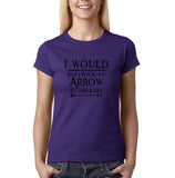 "I would but I took an arrow to the knee Black Womens T Shirt-T Shirts-Gildan-Purple-S UK 10 Euro 34 Bust 32""-Daataadirect"