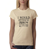 "I would but I took an arrow to the knee Black Womens T Shirt-T Shirts-Gildan-Sand-S UK 10 Euro 34 Bust 32""-Daataadirect"