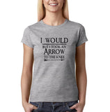 "I would but I took an arrow to the knee Black Womens T Shirt-T Shirts-Gildan-Sport Grey-S UK 10 Euro 34 Bust 32""-Daataadirect"