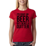 "I'd give up beer but I'm not quitter Black Womens T Shirt-T Shirts-Gildan-Cherry Red-S UK 10 Euro 34 Bust 32""-Daataadirect"