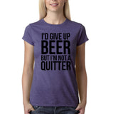 "I'd give up beer but I'm not quitter Black Womens T Shirt-T Shirts-Gildan-Heather Purple-S UK 10 Euro 34 Bust 32""-Daataadirect"