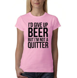 "I'd give up beer but I'm not quitter Black Womens T Shirt-T Shirts-Gildan-Light Pink-S UK 10 Euro 34 Bust 32""-Daataadirect"