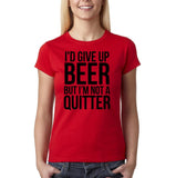 "I'd give up beer but I'm not quitter Black Womens T Shirt-T Shirts-Gildan-Red-S UK 10 Euro 34 Bust 32""-Daataadirect"