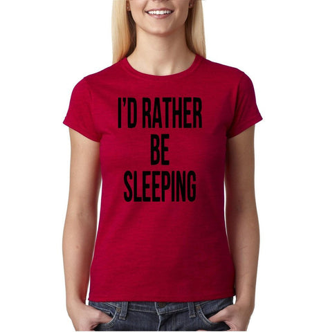 "I'd rather be sleeping Black Womens T Shirt-T Shirts-Gildan-Antique Cherry-S UK 10 Euro 34 Bust 32""-Daataadirect"