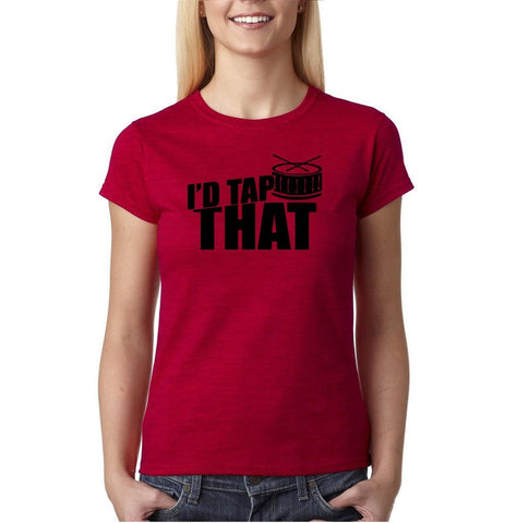 "I'd tap that Black Womens T Shirt-T Shirts-Gildan-Antique Cherry-S UK 10 Euro 34 Bust 32""-Daataadirect"