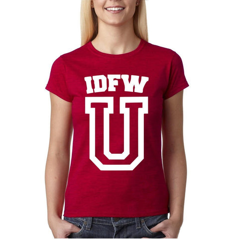 "IDFW U Women T Shirt White-T Shirts-Gildan-Antique Cherry-S UK 10 Euro 34 Bust 32""-Daataadirect"