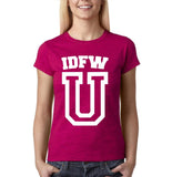 "IDFW U Women T Shirt White-T Shirts-Gildan-Antique Heliconia-S UK 10 Euro 34 Bust 32""-Daataadirect"