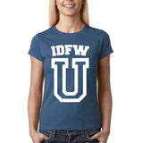 "IDFW U Women T Shirt White-T Shirts-Gildan-Indigo Blue-S UK 10 Euro 34 Bust 32""-Daataadirect"