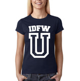 "IDFW U Women T Shirt White-T Shirts-Gildan-Navy Blue-S UK 10 Euro 34 Bust 32""-Daataadirect"