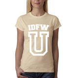 "IDFW U Women T Shirt White-T Shirts-Gildan-Sand-S UK 10 Euro 34 Bust 32""-Daataadirect"