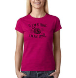 "If I'm sitting I'm knitting Black Womens T Shirt-T Shirts-Gildan-Antique Heliconia-S UK 10 Euro 34 Bust 32""-Daataadirect"