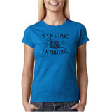 "If I'm sitting I'm knitting Black Womens T Shirt-T Shirts-Gildan-Antique Sapphire-S UK 10 Euro 34 Bust 32""-Daataadirect"