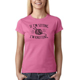 "If I'm sitting I'm knitting Black Womens T Shirt-T Shirts-Gildan-Azalea-S UK 10 Euro 34 Bust 32""-Daataadirect"