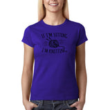 "If I'm sitting I'm knitting Black Womens T Shirt-T Shirts-Gildan-Cobalt-S UK 10 Euro 34 Bust 32""-Daataadirect"