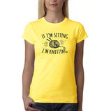 "If I'm sitting I'm knitting Black Womens T Shirt-T Shirts-Gildan-Daisy-S UK 10 Euro 34 Bust 32""-Daataadirect"