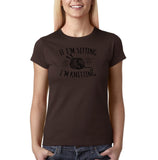 "If I'm sitting I'm knitting Black Womens T Shirt-T Shirts-Gildan-Dk Chocolate-S UK 10 Euro 34 Bust 32""-Daataadirect"