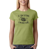 "If I'm sitting I'm knitting Black Womens T Shirt-T Shirts-Gildan-Kiwi-S UK 10 Euro 34 Bust 32""-Daataadirect"